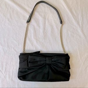 Kate Spade Esther black satin bow bag with chain